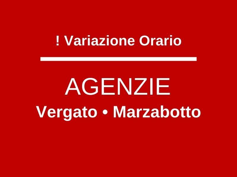 Variazione orario Agenzie Vergato e Marzabotto Aprile 2021